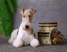 Metal Fridge Magnet Wire Fox Terrier Tri Color Coat Next To Gift Boxes Dog Dogs