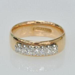 Vintage 14k Rose Gold 1/3 Ct Single Cut Diamond Wide Band Estate Ring