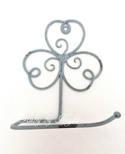 Shabby Chic Toilet Roll Holder French Vintage Bathroom WC Loo Blue Grey Scroll
