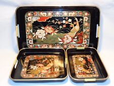 Vtg Stacking Serving Trays Peacock Bird Oriental Art Japanese Lacquer Ware ?