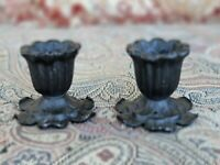 PAIR of Vintage Retro Metal Flower 50's Mid-Century Patina Taper Candle Holders