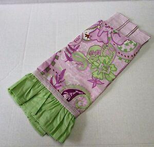 My Baby Sam Paisley Lime Green Purple Orchid Stripe Tab Top Valance Nursery New