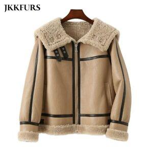 Women's Shearling Coat Leather Warm Lambskin Double Faced Biker Jacket 3MH3643L