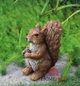 Red Squirrel Garden Ornament Indoor and Outdoor Sculpture Fairy Gardens