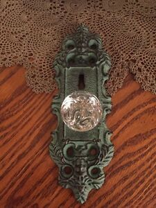 2 Cast Iron Door Plates With Acrylic/Glass Knob In Vintage Turquoise Teal Finish