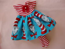 """Blythe/Skipper doll clothes """"Cat in the Hat"""" print dress w/red & white stockings"""