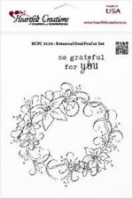 HEARTFELT CREATIONS PreCut Rubber Stamps BOTANICAL OVAL HCPC 3520 Cross Lilies