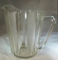 JEANNETTE GLASS CO. DEWDROP CLEAR 1/2-GALLON FLAT BASE PITCHER!