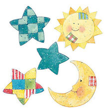 Sun Moon Stars Celestial Baby 25 Wallies Yellow Blue Patchwork Decals Stickers