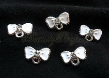 (5pcs) sparkly white bow tie diamonds for nail art charms acrylic, gel nails