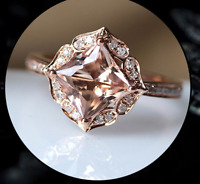 1.9ct Princess Cut Peach Morganite Engagement Ring 14k Rose Gold Finish Vintage