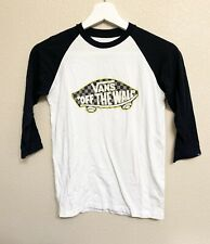 Vans Off The Wall Baseball Style T-Shirt Whited Black Custom Fit Junior Size S