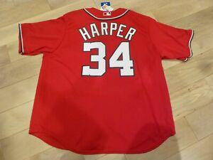 NWT Majestic Washington Nationals #34 Bryce Harper Red Jersey (Men Size 2XL)