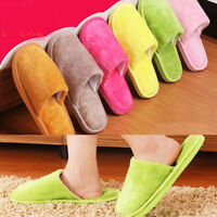 Solid Women Lady Cotton Plush Warm Slippers Home Indoor Winter Slippers Shoes