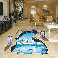 3D Polar Penguins Room Home Decor Removable Wall Stickers Decals Decorations