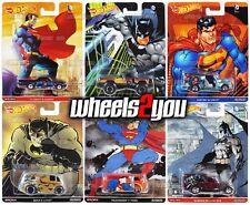 DC COMICS Superman - Batman - Set of 6 - 2016 Hot Wheels Pop Culture REAL RIDERS