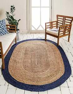 Rug 100% Natural Jute Vintage Oval Handmade Reversible Area carpet Oval Rag Rug