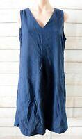 Katies Shift Dress Size 12 Blue Navy Sleeveless V-neck Linen Cotton