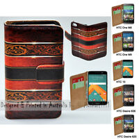 For HTC Series Mobile Phone - Vintage Damask Theme Print Wallet Phone Case Cover