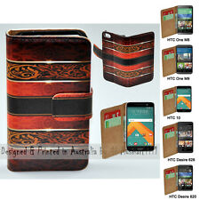 For HTC One X9 10 M9 M8 Desire 820 626 - Vintage Damask Print Wallet Phone Case