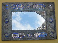 Antique Judaica 970 Silver Mirror Blue Enamel Mid East 1900