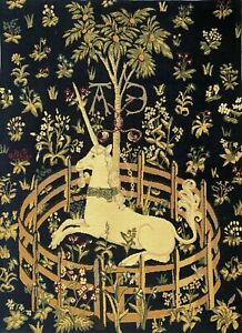 """UNICORN IN CAPTIVITY 25"""" x 18"""" BELGIAN TAPESTRY WALL HANGING, LINED + ROD SLEEVE"""
