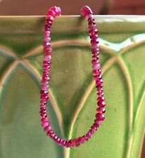 """Ruby Spinel Bracelet knotted graduated authentic gemstones july birthstone 7"""""""