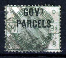 GB QV 1883 GOVERNMENT PARCELS OVERPRINT on 9d. Dull Green SG O63 (Spec.L20)  VFU