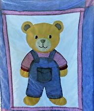 WHERE'S MY BLANKIE QUILTED 3D TEDDY BEAR FARMER POCKET BIB OVERALLS CRIB BLANKET