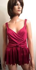 NWT Moschino Tunic L IT48 Red Silk Blend Blouse Sleeveless Peplum Cheap and Chic