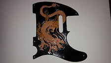 """Leather pickguard Fender Telecaster hand tooled leather """"Dragons Breath""""Natural"""