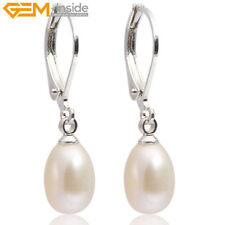 7-8mm Cultured Freshwater Pearl Dangle Leverback Closure Earrings For Women Gift