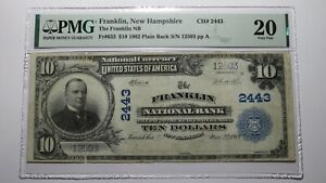 $10 1902 Franklin New Hampshire NH National Currency Bank Note Bill #2443 VF20