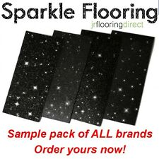 SAMPLES - Black Sparkly Flooring / Glitter Effect Vinyl Floor. Sparkle Lino Next