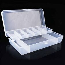 2 Tray Compartments Plastic Storage Container Case Fishing Lure Tackle Box New