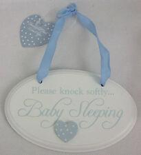 """Puerta/Placa De Pared Baby Boy """"bebé del saco de dormir"""" Azul/Blanco"""