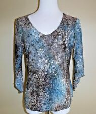 Brittany Multi Colored Animal & Floral Print with Gold Stitching Blouse Top sz L
