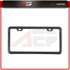 1x Black Carbon Fiber License Plate Frame Cover Tag w/ Free Caps for Chevy Ford