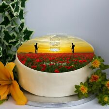 "Remembrance Day 'In Flanders Fields' 8"" Icing Sheet / Cake Topper, poppy"