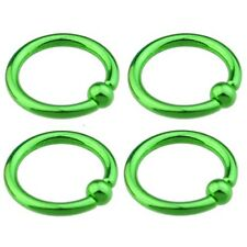 "1 Pair (2) Titanium Plated Neon Captive Rings 14g 3/8"" 3mm Balls Ear Lip GREEN"