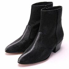 Los Altos Full Genuine Stingray Rowstone Dress Ankle Boots Side Zipper EE
