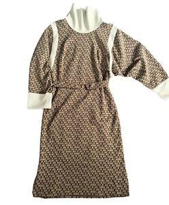 Vintage 1970's Maxi Dress, Jumper Dress, Brown, Geometric, Size 12-14