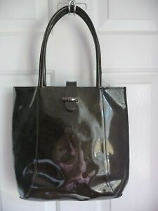 Longchamp Roseau Purse Made in France Dark Brown Patent Leather