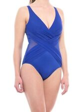 NWT New MIRACLESUIT Mesh Inset Crossover Drape One Piece Swimsuit Blue Size 14