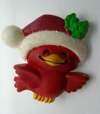 "Vintage Hallmark Cards Red Bird with Santa Claus Christmas Brooch Pin 1.5"" 1982"