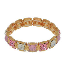 Pink Clear Crystal Iridescent Rhinestone Gold Fashion Jewelry Stretch Bracelet
