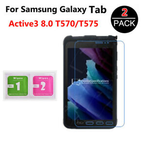 For Samsung Galaxy Tab Active 3 8.0 T570 T575 HD 2-Pack Slim Tempered Glass Film