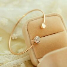 Elegant Womens Gold Crystal Rhinestone Love Heart Open Bangle Cuff Bracelet Gift