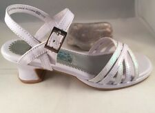 Rachel Shoes Dee White Sandal Heel Size 2M, Glitter Buckle Strap EUC