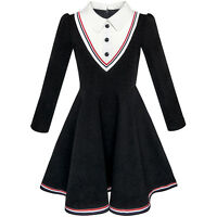 Girls Dress School Uniform White Collar Long Sleeve Striped Age 4-12 Years